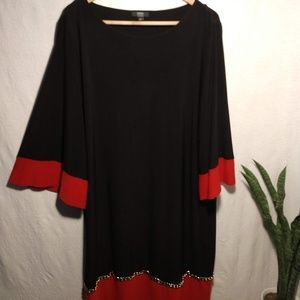 Black & red flared sleeve dress with chain detail